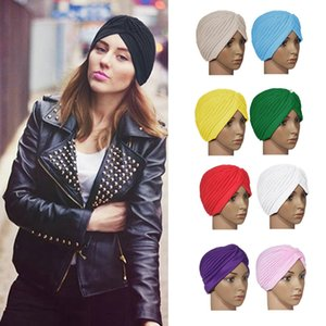 Envío gratis Stretchy Turban Head Wrap Sombreros Sleep Band de calidad superior Chemo Bandana Hijab plisado Indian Cap