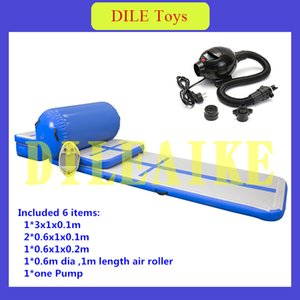 New Blue A Set (incluye 6 piezas) Tapetes inflables para pista de aire Cheerleading Gymnastics Floor Tumbling + Free One Pump