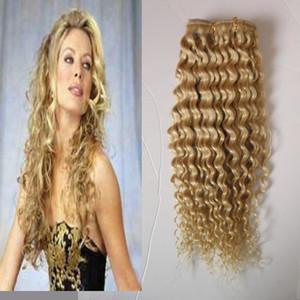 #613 отбеливатель блондинка афро кудрявый вьющиеся клип в волосах 100 г 7 шт. / лот 4A/4b / 4cafrican американский клип в наращивание человеческих волос