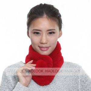 Kadınlar Gerçek Rex Tavşan Kürk Halka Topu Eşarp Lady atkısı Sıcak Eşarplar Yeni 2016 Kış Moda natrual Reali için Kürk Eşarp