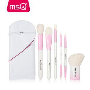 Msq 6 unids Set de pinceles de maquillaje de doble final Blusher Foundation Eyeshadow Cosmetic Make Up Brush Kit con pu funda de cuero estuche de resina