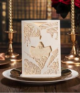Tarjeta de invitación de boda hueca blanca personalizable única con suministros Tarjetas para imprimir gratis Estampado de invitaciones de boda vintage