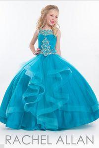Fantastic apliques Lace Little Girls Pageant Vestidos 2016 vestido de baile Beads Andar de comprimento Adorável princesa venda quente barato flor meninas vestido
