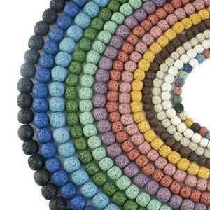 Haute Qualité Perles De Lave Pierre Naturelle 6mm Roche Volcanique Lâche Perle Bijoux Bracelet Collier Fabrication de Bijoux DIY Unique Perle Bracelet D211S