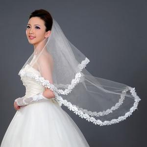 Düğün Için 2015 Ucuz Gelin Veils 1.5 m Bir Katman Beyaz Aplikler Dantel Aplikler Tül Düğün Peçe ile