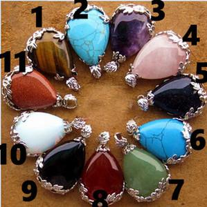 Livraison gratuitePendentif en cristal naturel incrusté pendentif goutte larmes d'ange pendentif multicolore mélange mixte
