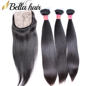 Human Hair Bundles with Silk Base Lace Closure 4x4 Straight Brazilian Malaysian Peruvian Indian Virgin Hair Weft Extensions 4pc Bella Hair