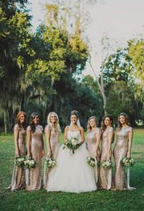 Великолепные золотые блестки оболочка платья невесты Cap рукава Jewel декольте длиной до пола свадебные платья партии свадебная горничная платье