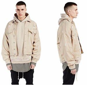브랜드 뉴 남성 힙합 고체 코튼 망 재킷 jaqueta masculina veste homme 폭탄 청바지 데님 재킷 윈드 재킷 코트