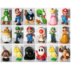18шт Super Mario Bros ПВХ Цифры игрушки Super Mario 18 стилей Марио + Yoshi + Луиджи + баузерами Цифры 3D модель Коллекция кукол