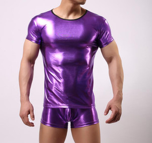 Wholesale WOXUAN Mens Tank Tops Gold Stamping Star Stage Performance Vest Foil Gold PU Leather Man Shirt Stage Wear T-shirt D566