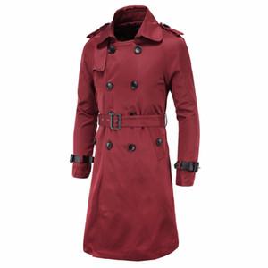 Al por mayor-Hombres X-Long Trench Coat Moda British Slim Pea Coats Doble Breasted para hombre Abrigos Trenchs Chaquetas Marca Ropa Chaquetas Abrigos