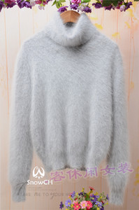 Wholesale- New genuine mink cashmere sweater women 100% cashmere pullover with turtleneck mink jacket free shipping S296