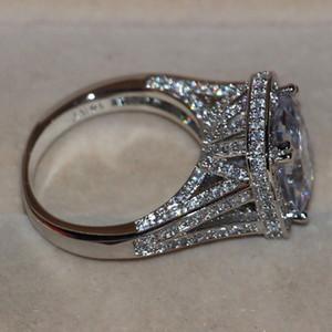 Taglia 5-11 Gioielli di lusso 8CT Big Stone White zaffiro 14kt oro bianco pieno GF diamante simulato Wedding Engagement Band Ring amanti regalo