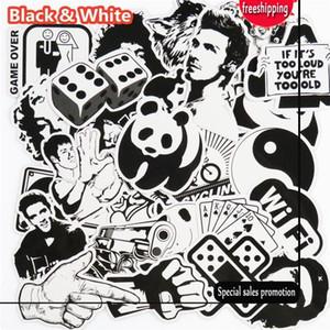 101 Adet Siyah ve Beyaz Sticker Snowboard Araba Styling Kızak Kutusu Bagaj Buzdolabı Oyuncak Vinil Çıkartması Ev dekor DIY S ...