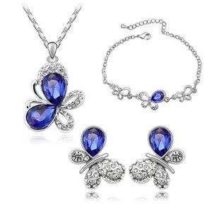2016 Bilezik Küpeler Kolye Jewelry Sets Avusturya Zirkon Crystal Kolye + Küpeler + Bilezik Kelebekler Jewelry Set Diamond Women Jewellry