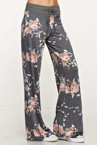 새로운 여성 꽃 요가 바지 캐주얼 느슨한 높은 허리 와이드 레그 관계 디자인 긴 바지 요가 바지