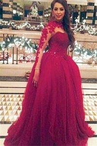 Arab Red Stehkragen A-Linie Tüll Ballkleider Spitze atemberaubende Pailletten mit langen Ärmeln bodenlangen Abendkleidern