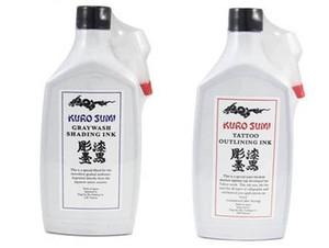 2 Bottiglie Black Kuro Sumi Graywash Shading e Black Outlining Tattoo Ink 12 oz 360ml / Bottle Pigment Tattoo
