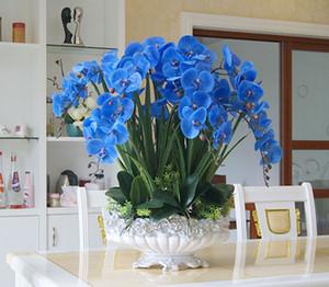Высокого качество Большого размер Синих Орхидеи Композиция Искусственной Real сенсорной Орхидея Цветочная композиция Бонсай Flower Только нет Vase