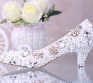 Luxurious Elegant Imitation Pearl Wedding Party Dancing Shoes Bridal Shoes Crystal diamond low-heeled shoes Woman Lady Dress Shoes