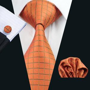 클래식 격자 무늬 오렌지 남성 넥타이 포켓 스퀘어 커프스 세트 자카드 직물 목에 넥타이 세트 실크 남성 세트 비즈니스 일 공식 N-0464