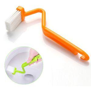 Taşınabilir Tuvalet Fırçası Scrubber V tipi Temizleyici Temiz Fırça Bent Bowl Kolu