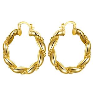 Orecchini a cerchio sciolti con torsione a nodo cinese placcato in oro giallo per donna 1 paio