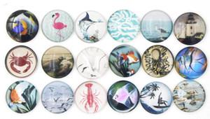 Nuovo arrivo Cabochon Glass Stone Buttons Octopus Bird Fish Ocean Beach Style per Snap Bracciale Collana Anello orecchino