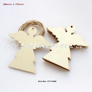 "Wholesale-(50pcs/lot) 70mm Blank Unfinished Wood Angel Christmas Tree Tags With Strings 2.8""-CT1305"