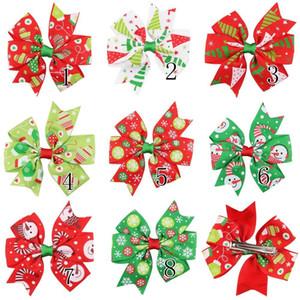 16 Teile / los 3 Zoll Weihnachten Ripsband Bögen Mit Clip Schnee Windrad Haarspangen Haarnadel Mädchen Haarschmuck A60