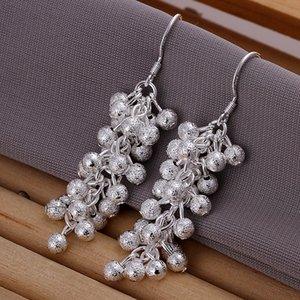 argento placcato nuovo di zecca sterling Frosted uva tallone orecchini DFMSE007, argento 925 ciondola lampadario orecchini delle donne 10 accoppiamenti mólto
