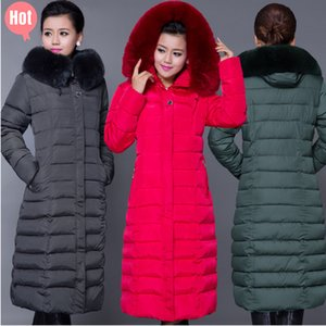 Wholesale-HOT Winter jacket women down coat women's down jackets 2015 ladies winter coat long women wadded jacket Plus Size 5XL Long Parka