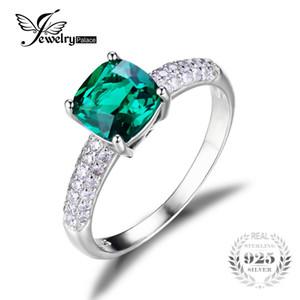 All'ingrosso JewelryPalace Cuscino 1.8ct Verde russo Creato smeraldo gioielli Solitaire Anello di fidanzamento per le donne argento 925