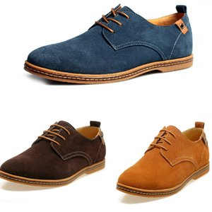 New Mens Casual Dress Formal Oxfords Shoes Wing Tip Suede Leather Flats Lace Up Big Size Shoes British Fashion Party Dress Shoes ZJ16-S02
