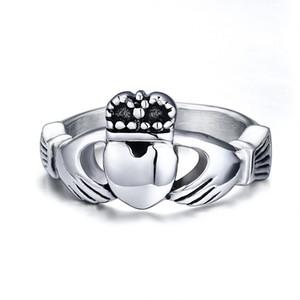 Anéis de aço inoxidável personalizados de Claddagh da Irlanda Anel de noivado irlandês de Claddagh em de aço inoxidável