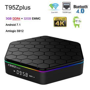 T95Z Plus Amlogic S912 3gb DDR4 32GB أندرويد Tv Box Octa Core 2.4 / 5G WIFI BT4. 0 4K H. 265 1000M 2G 16G Smart Media Player T95Z+