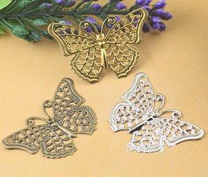 (100 pcs / lot) 25 * 40mm bronze antique / original en laiton / rhodium creux papillon filigrane enveloppes connecteurs cuivre bijoux 647