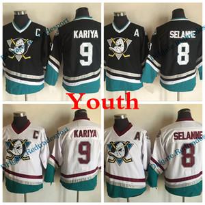 Jeunesse Puissant Canards Vintage 8 Teemu Selanne 9 Paul Kariya Hockey Maillots enfants Ducks d'Anaheim Vintage CCM Jersey Violet Cousu à bas prix