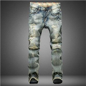Приталенные рваные джинсы для мужчин Hi-Street Mens Проблемные ретро джинсовые бегуны Отверстия для колен Промытые разрушенные джинсы Дизайнерские джинсы для мужчин J171014