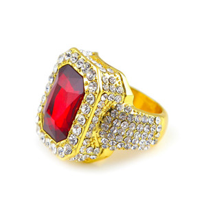 Hot sale mens hip hop jewelry rhinestone solitaire rings European and American style crystal hiphop rings accessories