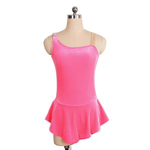 Simple Design Pink Girls Sleeveless Training Dress On Ice High Quality Professional Design Dancing Spandex Dress Free Shipping