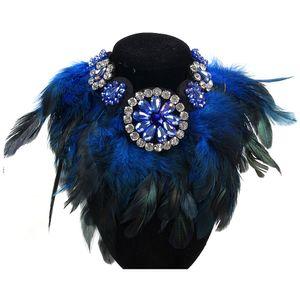 Wholesale-New Crystal Maxi Flower Feather Women Rhinestone Pendant Ribbon Choker Bib Collar Necklace wholesale