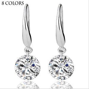 Real Sólido 925 Sterling Silver Wedding Engagement Brinco 2Ct Princesa Corte Criado Jóias de Diamante Atacado Frete Grátis