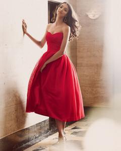 Elie Saab abiti da ballo rosso abiti da cocktail Sweetheart metà polpaccio pieghe increspati abiti da sera partito una linea elegante signora abiti da cerimonia formale