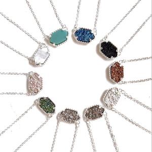 شحن مجاني kendra druzy حجر الأقراط هندسية اللون الأحجار الكريمة قلادة قلادة النحاس الفضة الطلاء لسيدة
