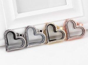 YENI 10 Adet / grup 4 Renkler Manyetik Kalp Şekli Cam Yüzer Locket Kolye Kolye Zincir Yapımı Için