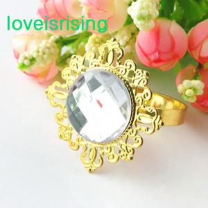 Prix le plus bas - 100pcs plaqué or blanc clair Vintage Style serviette anneaux de mariage titulaire de serviette de douche de mariée--