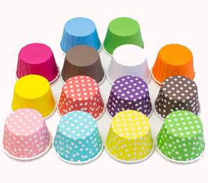 100pcs / lot Colorful Dots Pure Color Mini Paper Cake Liners Muffin Cupcake Cases Cups Dessert Decorating Baking Cups