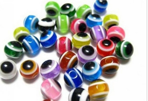 Chaud! 1000 pcs Mixte Couleur Acrylique Evil Eye Ball Rond Spacer Perles 6mm DIY Bijoux